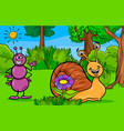 ant and snail animal cartoon characters vector image vector image