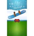 Heppy winter weekend blue snowboard vector image