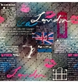 Collage of grunge newspaper London with raindrops vector image