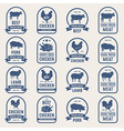 Big set of meat labels 001 vector image vector image