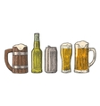Beer glass mug can bottle hop vintage vector image