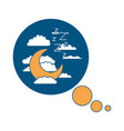 bubble call out with night landscape and snoring vector image