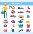 car service repair parts and serviceman boy vector image