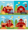Farm in the village flat Landscape Natural vector image