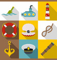 underwater search icons set flat style vector image