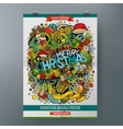 Cartoon doodles Merry Christmas poster vector image