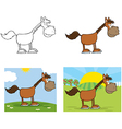 Horse Cartoon Character Collection vector image vector image