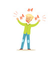 happy blonde boy laughing out loud colorful vector image
