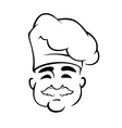 Happy european chef in toque hat vector image