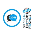 2016 Chat Flat Icon with Bonus vector image