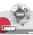Hand drawn bus icons with icons background vector image