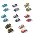 isometric emergency services cars set vector image vector image