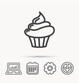 cupcake icon dessert cake sign vector image
