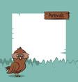 cute owl with frame cartoon vector image