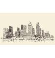 Singapore Big City Architecture Vintage Engraved vector image