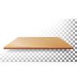 wooden table top floor wall shelf vector image