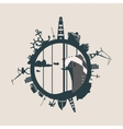 Cargo port and travel relative silhouettes vector image