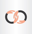 infinity symbol with human hands vector image