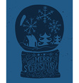 Christmas card Bowl with snow Ink sketch vector image