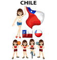 Chile flag and woman athlete vector image