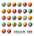 alphabet on glossy ball vector image