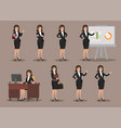 business woman in various poses flat design vector image