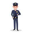 cartoon policeman in uniform police baton vector image