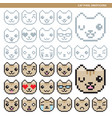 cat pixel emoticons vector image