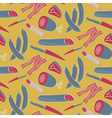 Seamless meat pattern on yellow vector image