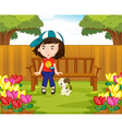 Girl and dog in the garden vector image vector image