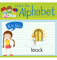 Flashcard alphabet K is for knock vector image