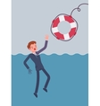 Giving a lifebuoy for drowning businessman vector image
