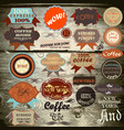 vintage labels on wooden texture vector image
