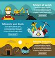 mining industry banner horizonatal set flat style vector image