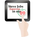hands pressing love heart on black abstract tablet vector image