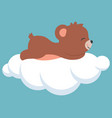 cute baby bear sleeping on a cloud baby shower vector image
