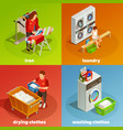 laundry isometric dry cleaning composition vector image