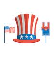 Set for elections in America Uncle Sam hat USA vector image