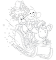 Santa Reindeer and Snowman in a sleigh vector image