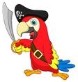 Cute parrot pirate cartoon vector image