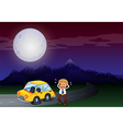 A boy with his car in flat tires vector image