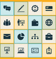 trade icons set collection of billfold earth id vector image
