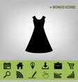 beautiful long dress sign  black icon at vector image