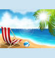 lounge chair on the seaside vector image vector image