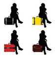 Girl silhouette sitting on vintage suitcase vector image