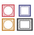 set of retro blank picture frame template vector image