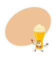 funny beer glass character with smiling human face vector image