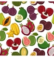 Exotic and tropical fruits seamless pattern vector image