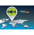 Map pin with Frankfurt skyline vector image