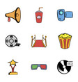 movie icons set cartoon style vector image